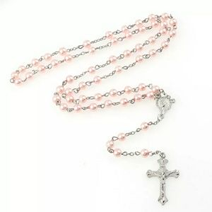 Pink Pearl Cross Rosary Necklace